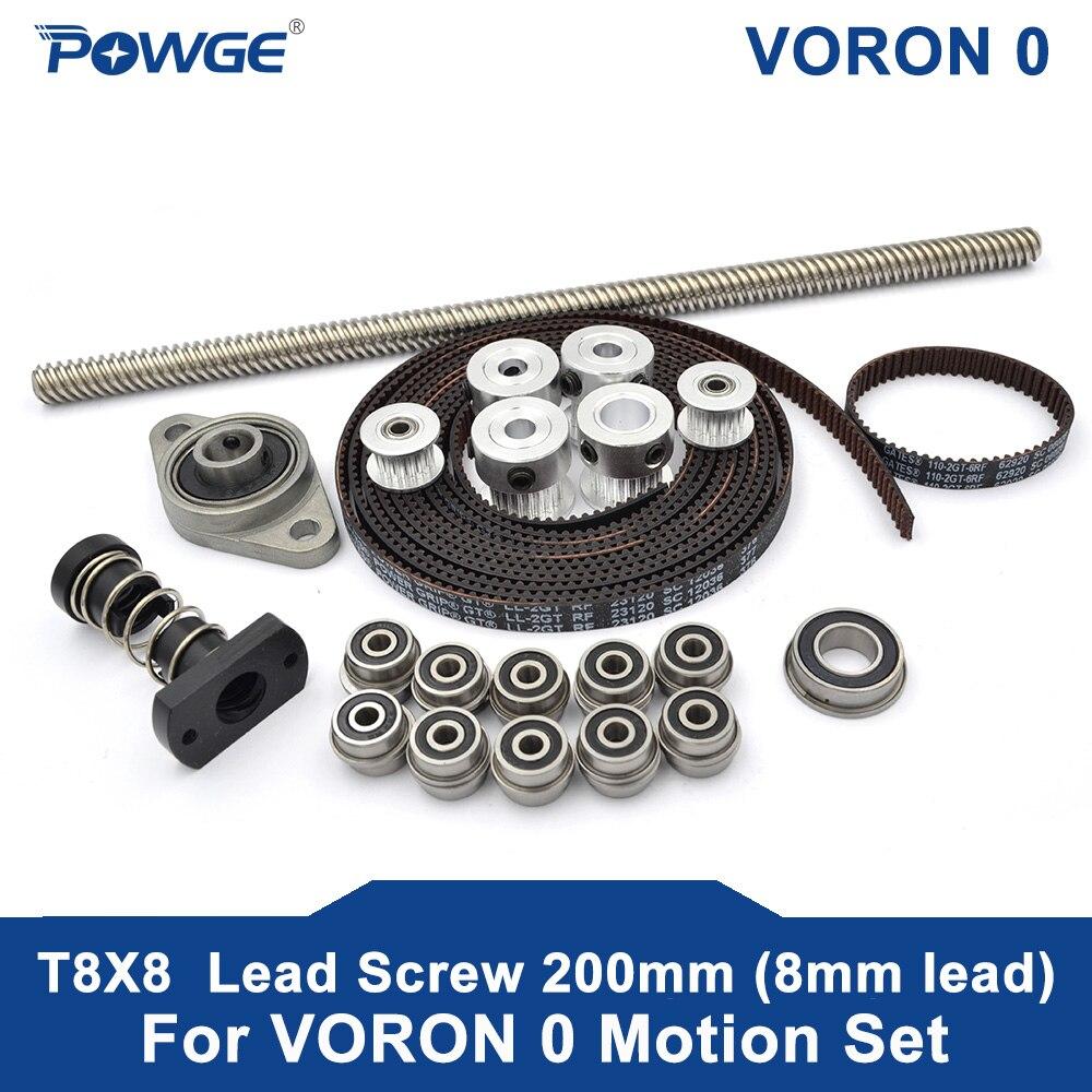 POWGE VORON 0 Set GT2 LL-2GT RF Open Timing Belt 2GT 20T 16T Pulley 110-2GT Shaft Bearing