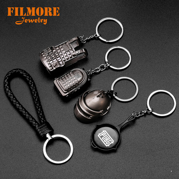 PUBG Keychain Armor Bag Key Chain Helmet Pan 98K Gun Alloy Keyring Jewelry FPS Game Fans Gift llaveros mujer llavero para hombre image