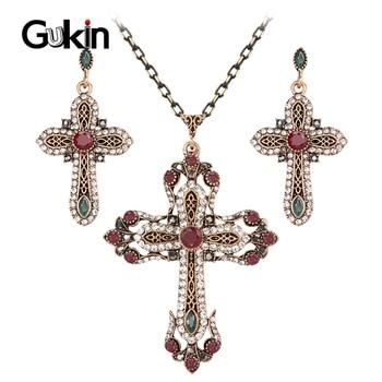 Gukin Cruz collar mujer pendientes conjuntos de joyería antiguo Color oro incrustaciones de cristal Vintage indio joyería conjunto regalos religiosos