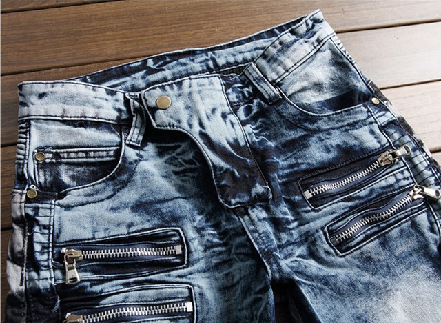 New Fashion Brand Mens Jeans Snow Wash Zipper Pockets Slim Fit Denim Motor Jeans Homme Pants High Street Biker Jeans Men #003-2