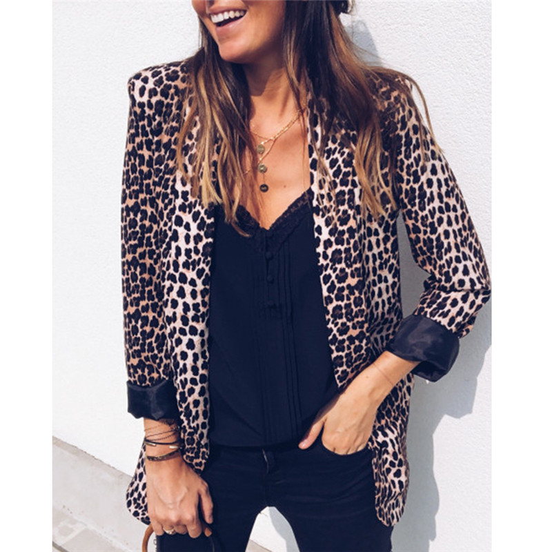 Women Long Sleeves Leopard Snake Skin Printed Blazers Office Lady Slim Fit Casual Jacket Women Single Button Suit