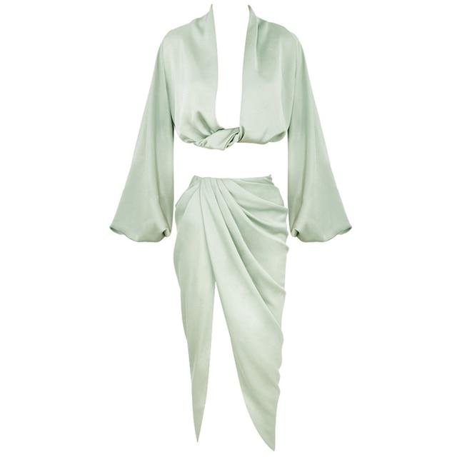 Tobinoone Sexy Long Sleeve Autumn Party Dress Women Satin V Neck High Slit Long Dress Elegant Bodycon Pleated Dresses 2020 5