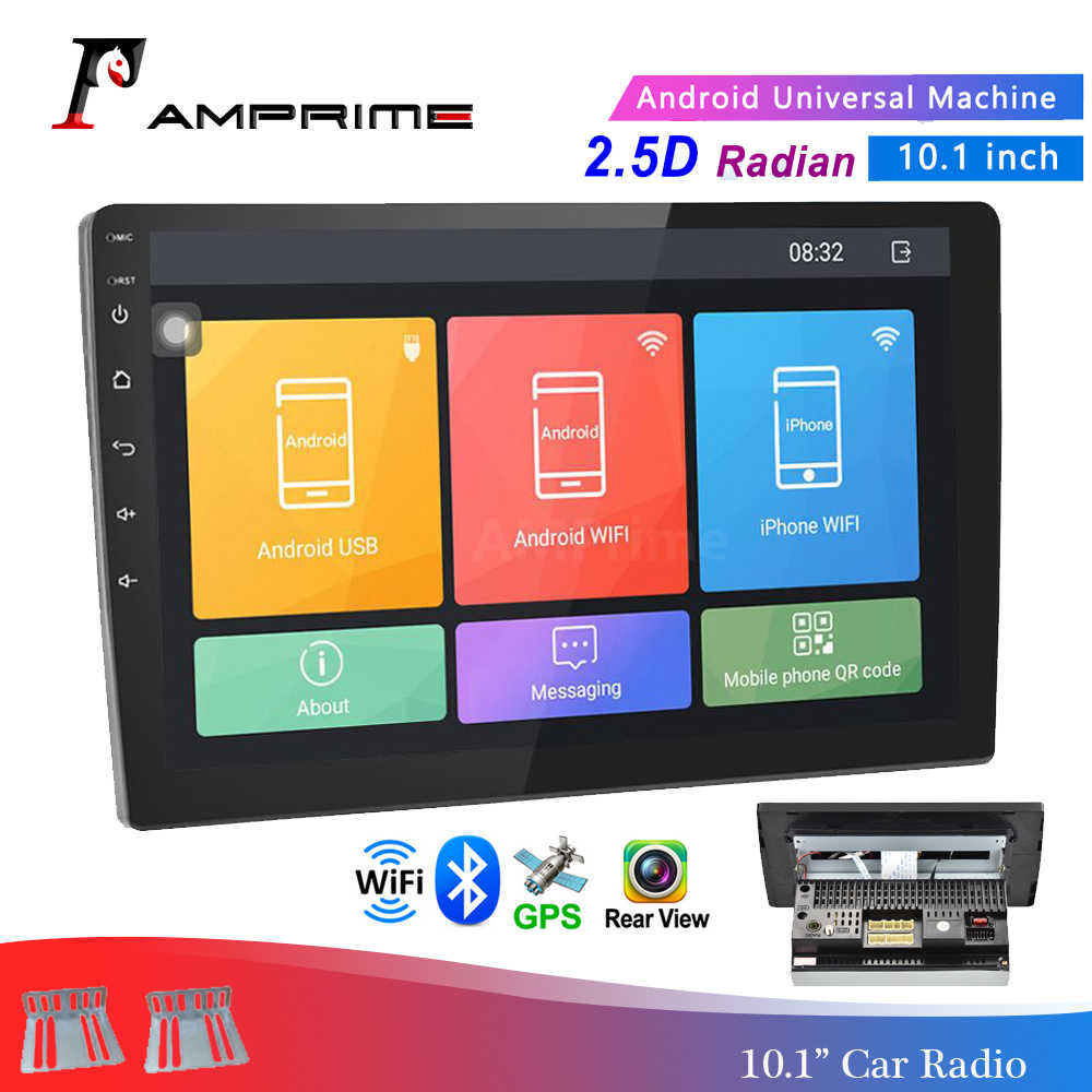 "Amprime Android 10.1 ""Auto Multimedia Speler 2 Din Gps Car Stereo Radio Bluetooth Wifi Audio Mirrorlink Usb MP4 Met achteruitrijcamera"