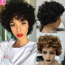 Dreamdian-peruca remy de cabelo humano, 8 polegadas, curto, encaracolado, cabelo humano, perucas para mulheres negras, dourado, ombré, loiro, cabelo brasileiro, 100%