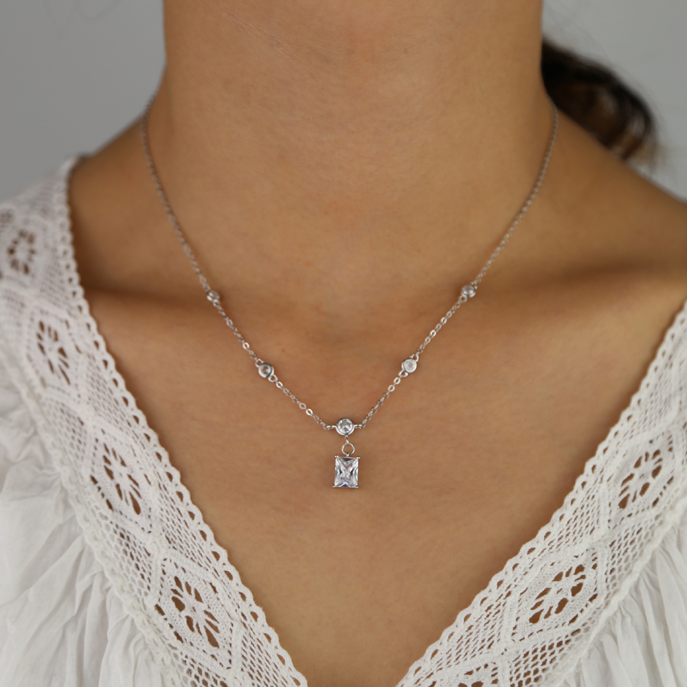 925 sterling silver trendy fashion round cz station jewelry dainty cz single baguette stone charm chain necklace women jewelry