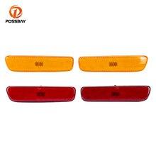 Possbay 2 pces dianteiro/traseiro lado marcador sinal de volta lâmpada amarelo vermelho pára-choques luz indicadora 12v para lexus rx300 rx 300 1999-2003