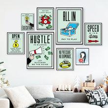Креативный художественный постер искушение денег холст живопись