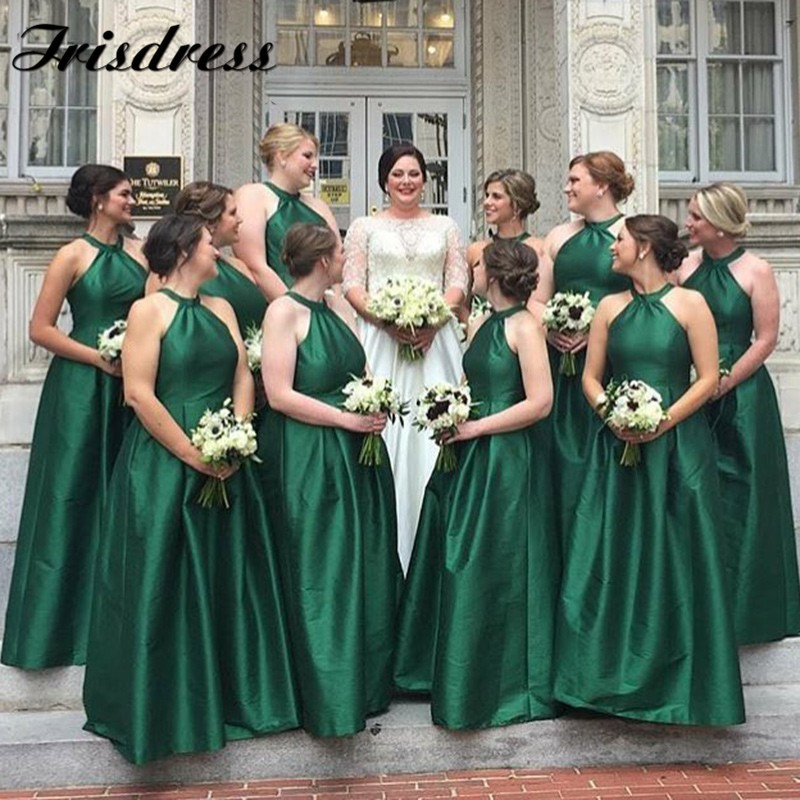 Dark Green Backless Bridesmaid Dresses Long 2019 Sexy Halter Neck Formal Wedding Party Gowns For Women Maid Of Honor Dress