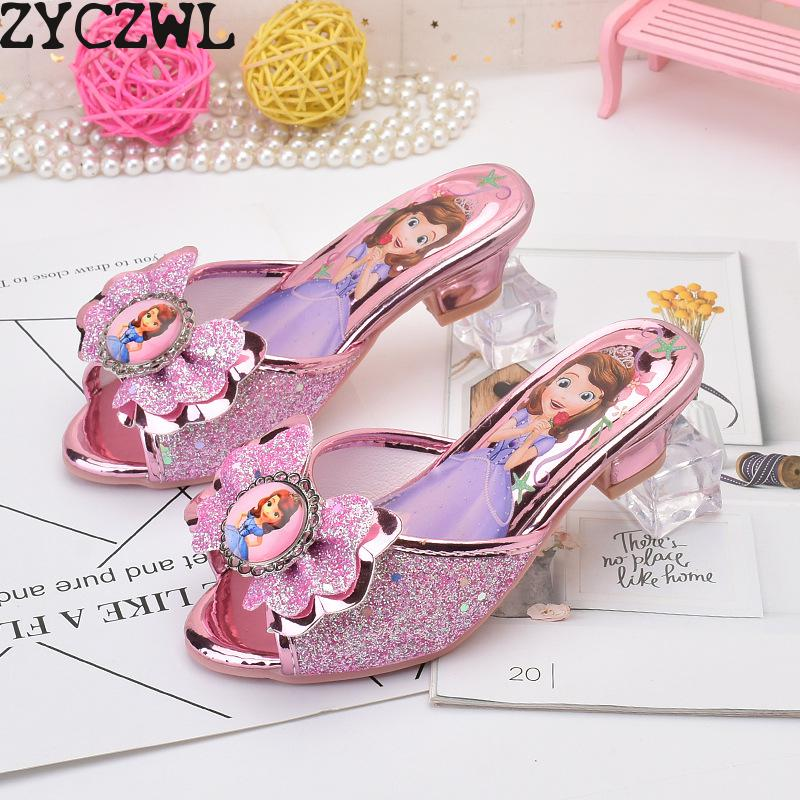 Children Leather Elsa Sandals Child High Heels Girls Princess Summer Anna Shoes Chaussure Enfants Sandals Party Shoes eu 26-37