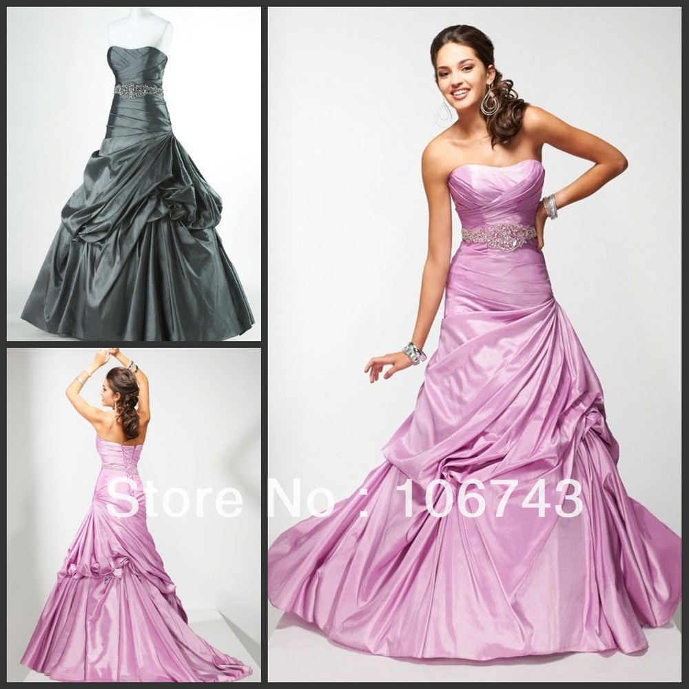 Real Sample Free Shipping 2015 New Style Best Seller Sexy Evening Gown Handmade Custom-made A-line Taffeta Long Prom Dresses