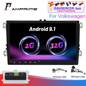 AMPrime 2+32G Android Car radio 9 For Volkswagen Skoda Golf 5/6 POLO PASSAT B5 B6 Seat Multimedia Player WIFI GPS navigation image