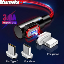 цена Vanniso 3A Magnet Charger Fast Charging Micro USB cable For iPhone Xs MAX X 7 Samsung S8 Type C Magnetic USB C Phone Cable Cord