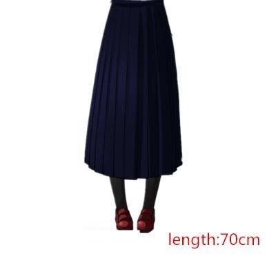 Японская школьная форма для девочек, регулируемая однотонная плиссированная юбка, 90 см, Jk, черный, темно-синий цвет, для старшеклассников, для студентов, в школьном стиле - Цвет: navy skirt 70cm