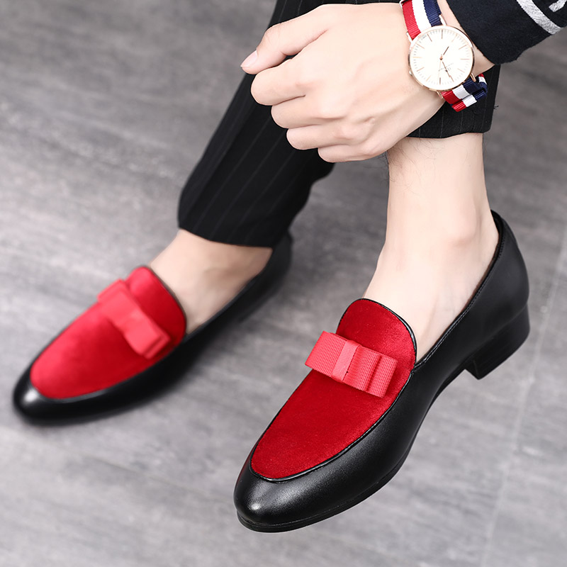 2020 Luxury Bowknot Dress Shoes Male Flats Loafers Black Patent Leather Red Suede Loafers Men Formal Wedding Shoes Large Size 48