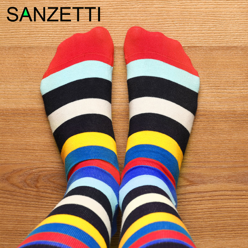 SANZETTI New 1 Pair High Quality Men Colorful Combed Cotton Happy Socks Causal Bright Street Dress Sock Funny Gift Wedding Socks