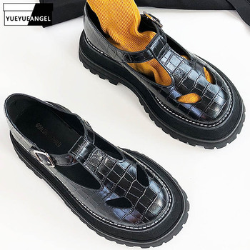 Summer Black Platform Hollow Out Vintage Mary Janes Shoes Woman High Quality Round Toe Thick Sole Preppy Sandales Femme 2019