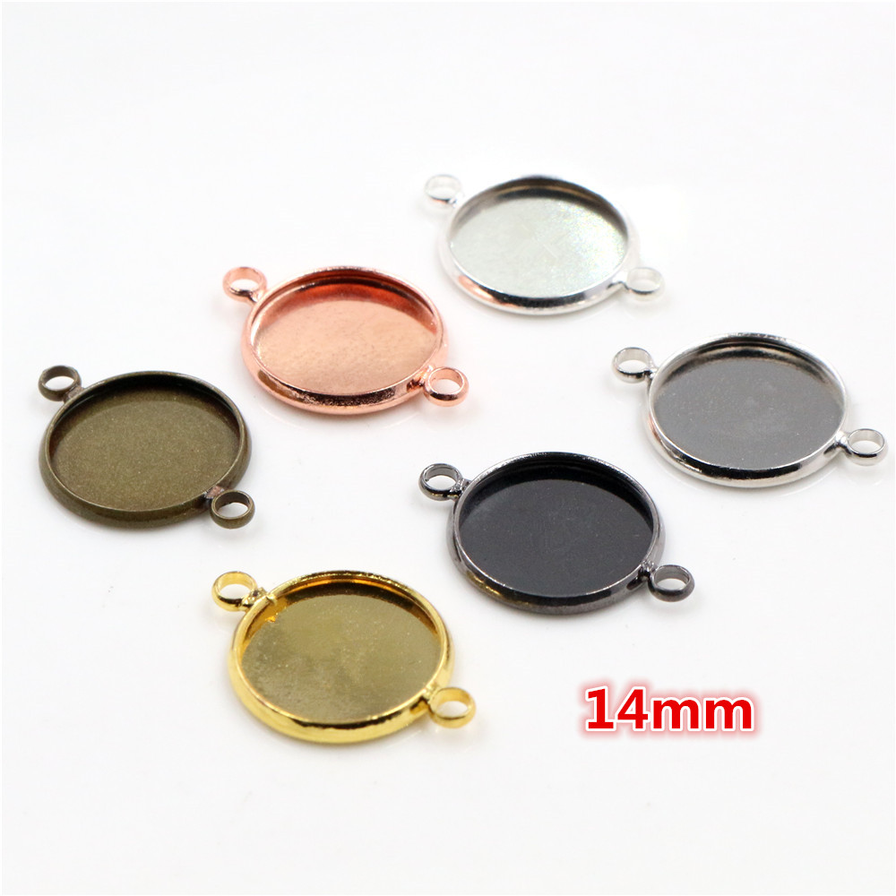 14mm 10pcs Brass Material 6 Colors Plated Double Hanging Style Cameo Setting Base Cabochon Setting Connector High Quality