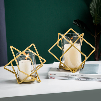 Glass Creative Geometry Candle Holder Romantic Home Simple Candlelight Candlestick Christmas Wedding Candelabra BB50ZT