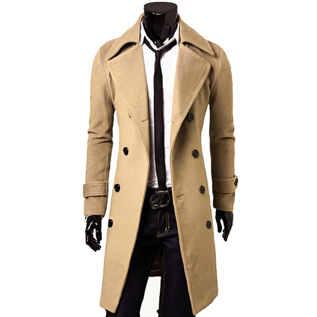 Adisputent 2020 New Autumn Winter Men's Trench Coat Long Sleeve Solid Color Cool Mens Long Coat Cotton Male Overcoat Size M-3XL
