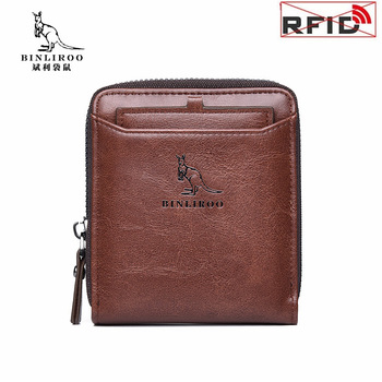 Men's Wallets Genuine Leather Wallet Men Pocket Coin Purse Card Holder RFID Anti Theft Short Zipper Wallet Male High Quality vintage rfid wallets 100% genuine leather men short wallet for cards male coin purse card holder pocket double zipper design