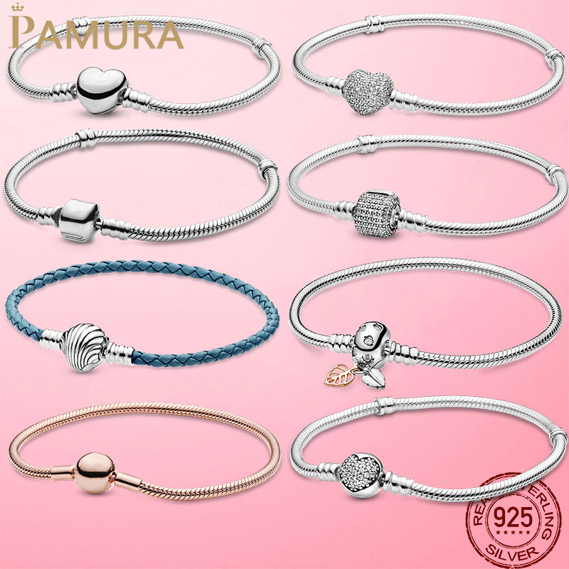 Femme Bracelet 925 Sterling Silver Heart Infinity Snake Chain Bracelet Bangle For Women Fit Original Charm Beads Jewelry Gift