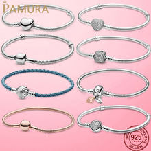 TOP SALE 6 Styles 925 Sterling Silver Heart Snake Chain Bracelet For Women Fit Original Charm Beads Jewelry Gift