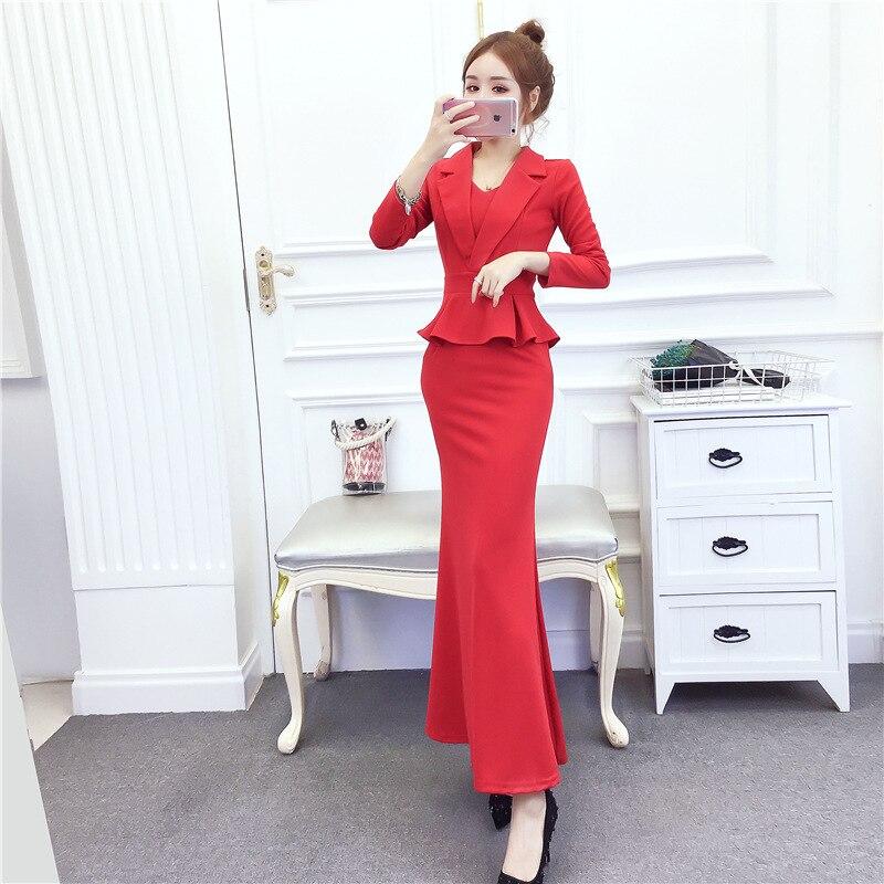 Photo Shoot 2019 Autumn And Winter Fashion Fold-down Collar Flounced Formal Dress Long Skirts Sheath Dress Casual Trend