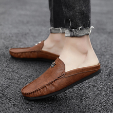Youth Casual Loafers Shoes Black Khaki Lazy Shoes Male Weight Light Half Shoes Comfortable Anti-Slip Men Walking Slippers Shoes 2020 summer cool rhinestones slippers for male gold black loafers half slippers anti slip men casual shoes flats slippers wolf