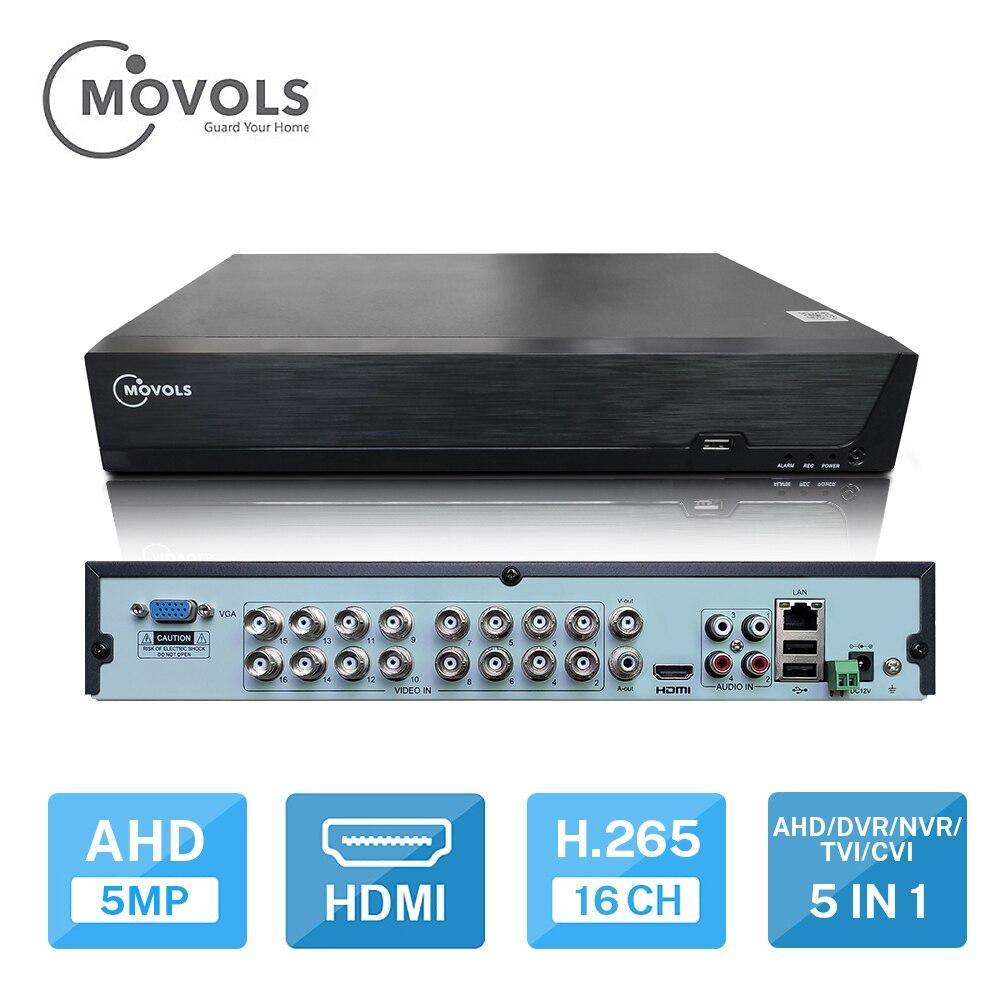Grabadora de vídeo CCTV MOVOLS DVR 16CH para cámara analógica AHD cámara IP Onvif P2P 5MP H.265 SATA admite instalar 2 uds HDD DVR Cámara de 8MP CCTV, probador de vídeo ahd ip, cámara de vídeo, mini Monitor ahd 4 en 1 con VGA HDMI cámara de seguridad de entrada