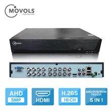 Movols dvr 16ch cctv gravador de vídeo para câmera ahd câmera analógica câmera ip onvif p2p 5mp h.265 sata suporte instalar 2pcs hdd dvr