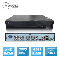 MOVOLS DVR 16CH CCTV Video Recorder For AHD Camera Analog Camera IP Camera Onvif P2P 5MP H.265 SATA support install 2pcs HDD DVR