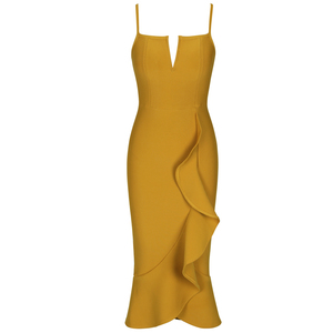 Image 4 - Ocstrade Mermaid Bandage Vestido Midi 2020 Sexy New Arrival  Ginger Yellow Rayon Women Sleeveless Bandage Bodycon Party Dresses