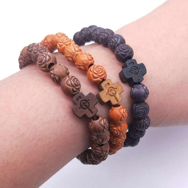 Amader Panas Pria Alami Manik-manik Kayu Cross Gelang Onyx Meditasi Doa Bead Gelang Wanita Kayu Yoga Perhiasan ABJ003