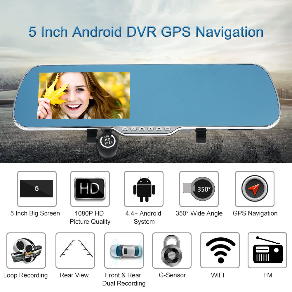 """5"""" Android 4.4 Smart GPS Navigation Car Rearview Mirror DVR Rearview Camera"""