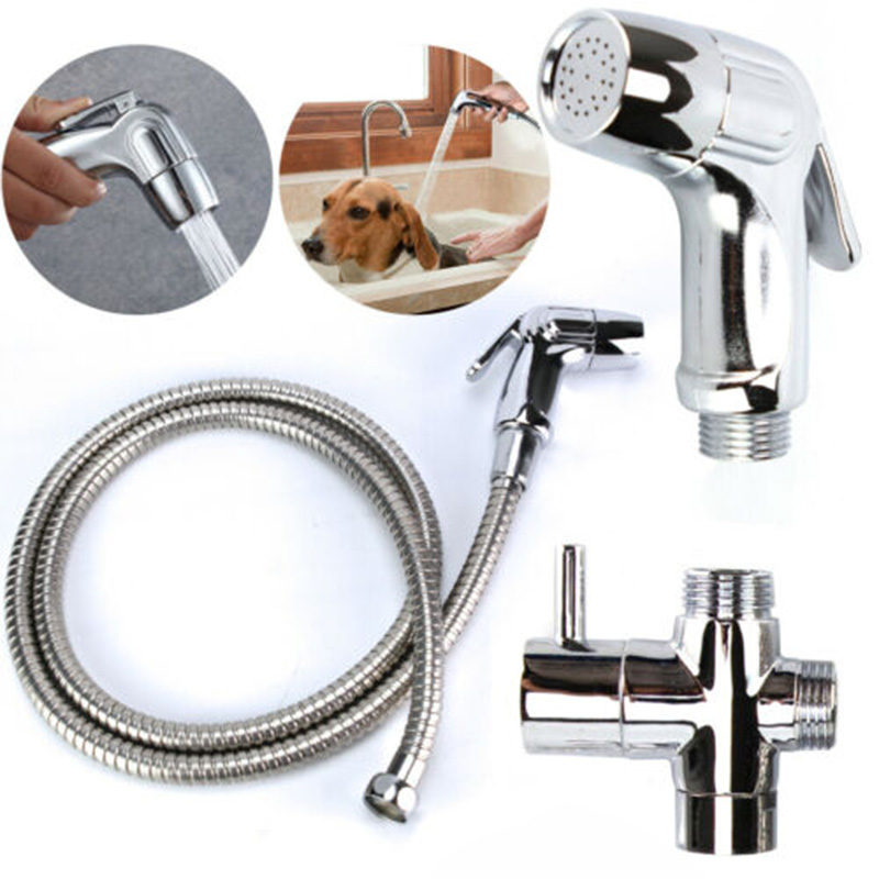Stainless Steel Bidet Sprayer Shattaf Bathroom Toilet Pressurized Nozzle Kit Sprayer Head Tool Parts