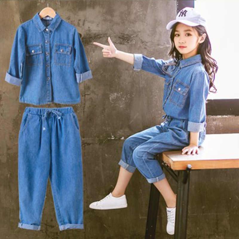 Dzieci odzież garnitur dla nastoletnie dziewczyny jesień z długim rękawem koszula z kapturem najlepsze spodnie ubrania dla dzieci moda stroje 4 8 10 12 lat