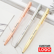 New Metal Ballpoint Pen Rose Gold Pen Custom Logo Advertising Ballpoint Pen  Lettering Engraved Name School&office Supplies new engraved name pen gold foil metal ball point pen custom logo company name writing stationery gift office school pen with box