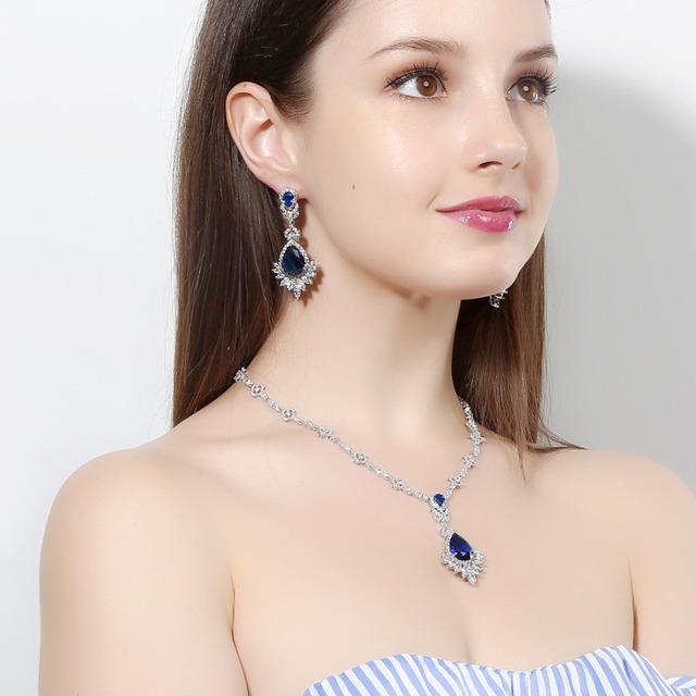 Luxury Sapphire Emerald Gemstone Jewelry Sets  Necklace/Earrings