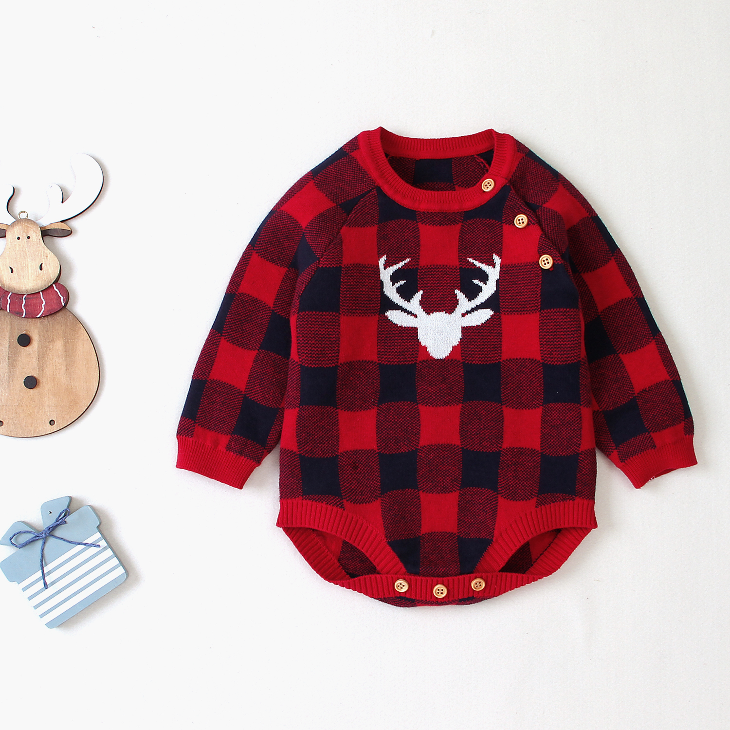 Baby Girl Knitted Bodysuits Clothes Long Sleeves Newborn Boys Coveralls Christmas Reindeer Infantil Children Jumpsuits 0 18Month in Bodysuits from Mother Kids