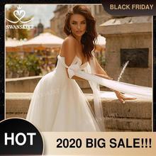 אופנה סאטן חתונה שמלת 2020 Boho מתוקה שרוולים אונליין תחרה עד נסיכת Vestido דה novia Swanskirt F320 כלה שמלה