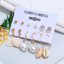 6PCS/Set Imitation pearls Heart-shape shell Stud Earring For Women Fashion Scallop Earrings set Female Beach Jewelry 2019 New