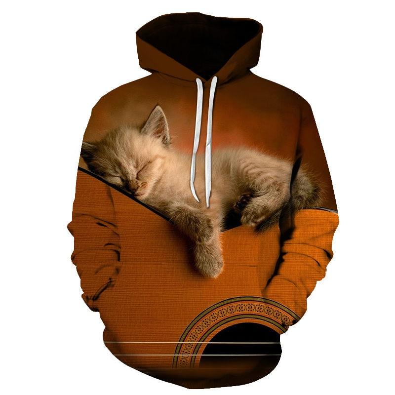 Women's Two Cat Sweatshirts Long Sleeve 3D Hoodies Sweatshirt Pullover Tops Blouse Pullover Hoodie Poleron mujer Confidante Tops 71