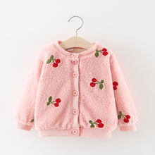 Baby Girl Coat Winter Thicken Jackets Embroidery Cherry Warm