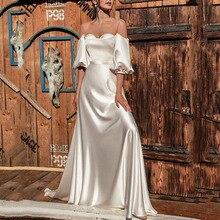 Минималистский Чистый Белый Простой Свадьба Подружка Невесты Платье Женщины Элегантный С открытыми плечами Высокий Васит Длина до пола Вечеринка Платья Халаты