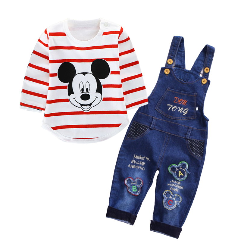 Spring newborn baby boy clothes set baby Mickey T-shirt + jeans suit baby girls casual suit clothing sets Baby autumn clothing