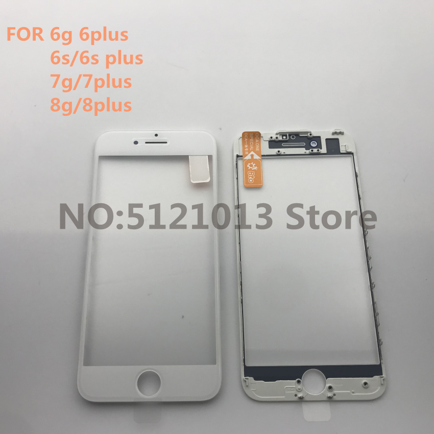 2pcs Original new cold press 3 in 1 Front LCD Screen Glass With Frame OCA For iPhone 5 5s 5c 6 6s 7 8 plus Repair parts image