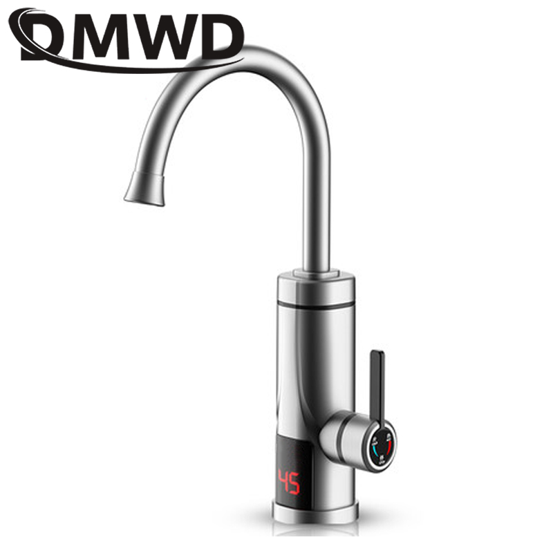 DMWD Hot LED Display Water Rapid Heating Faucet Electric Instant Kitchen Tankless Water Heater Tap Temperature Display 3300W EU