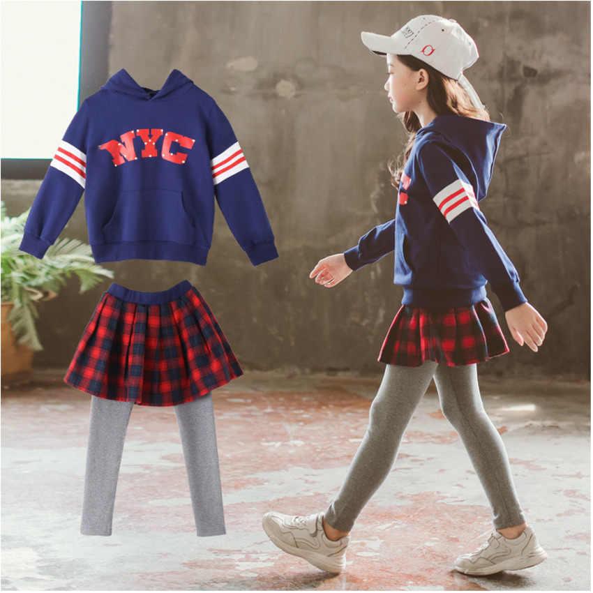 2019 г., комплект для девочек, весенне-осенняя клетчатая юбка + синее пальто новый детский осенний свитер с капюшоном из двух предметов От 3 до 12 лет