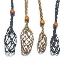 Boho colar cabo vazio suporte de pedra de cristal de quartzo pedra crua chakra ponto cura peixe neted mão wovent net saco