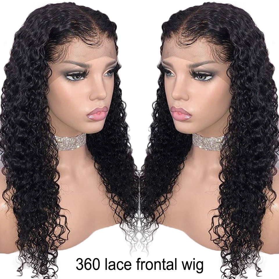 150% Density 360 Lace Frontal Wig For Women Brazilian Remy Hair Pre Plucked Natural Curly Human Hair Wigs Bleached Knots-in 360 Lace Wigs from Hair Extensions & Wigs    1